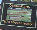 Protest sign - shovel ready
