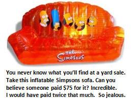 yard sale - simpsons sofa