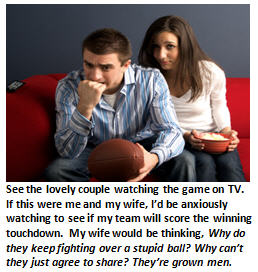 sports-impaired wife - watching football