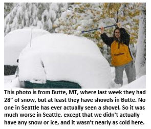 Seattle cold weather - car with snow