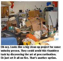 Procrastination - messy garage