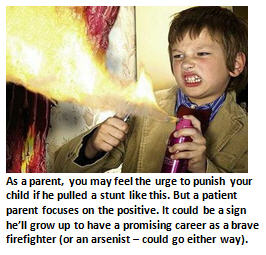 Patient Parenting - child with fire