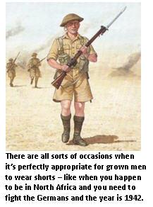 men in shorts - British soldier