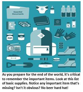 Armageddon - list of supplies