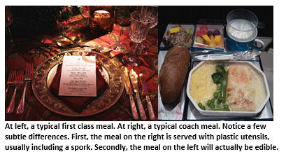 first class vs coach - dining
