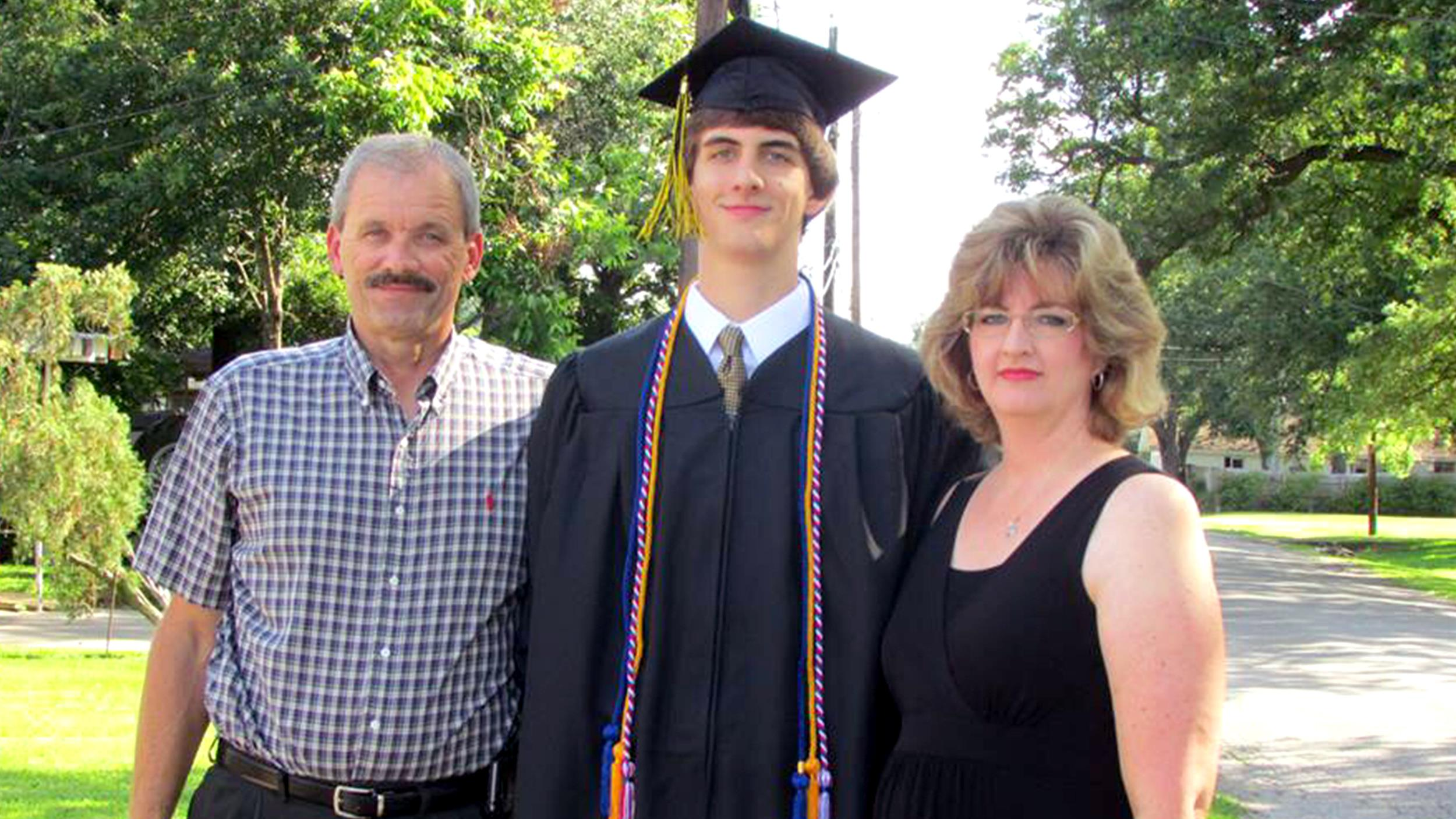 """These are the proud parents of Joey Grimaldi. He graduated with a 2.3 GPA and was voted """"Most Likely to Succeed – with the Babes."""" He's decided to forgo college for a gap year as he entertains his options – both stock and dating. To fund this venture, he plans to live at home and ask his parents for a raise in his allowance."""