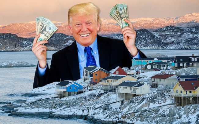 """President Trump announces his latest deal: Trump Greenland. """"Denmark's loss is MY gain. Come join me and let's MAKE GREENLAND GREEN AGAIN!"""""""