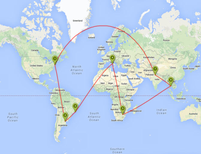 The actual route my suitcase took is apparently classified. But here is my best guestimate of its whirlwind world tour. All those sites in only three days!