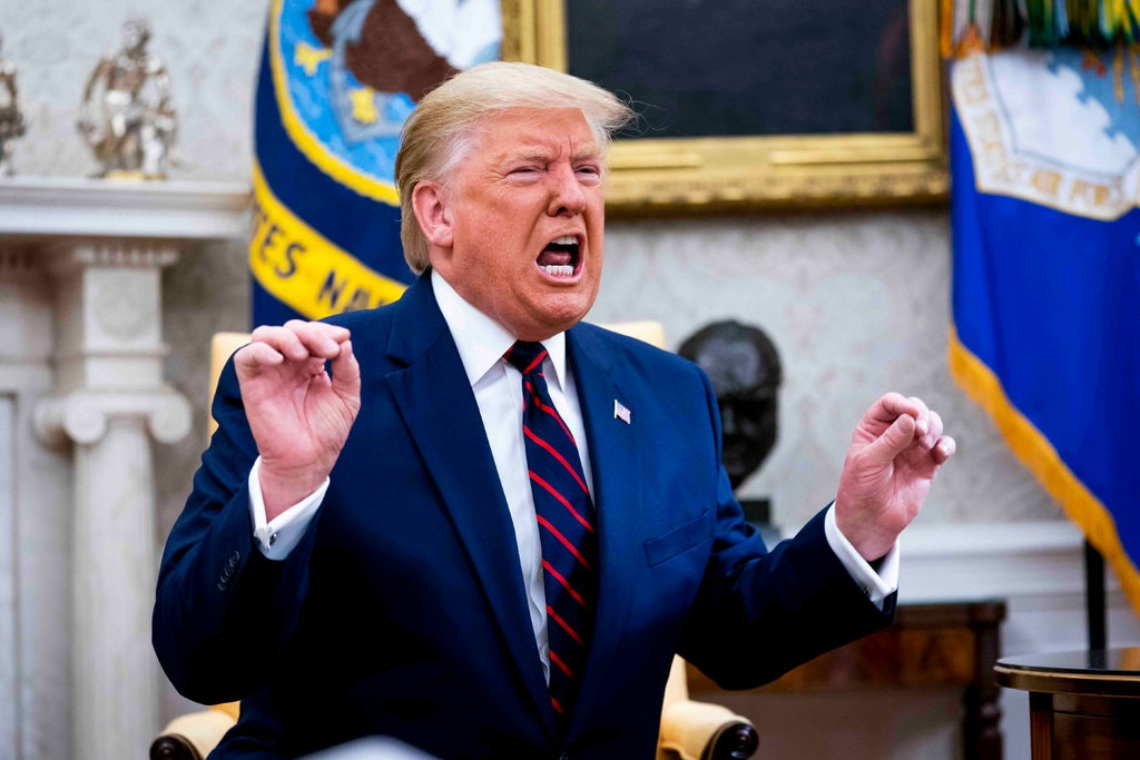 """When a reporter asked a question about Syria, the president launched into a 25-minute expletive-laden tirade about the Fake Media, the impeachment witch hunt, and how he was responsible for the Nationals winning the World Series: """"I alone could win it."""""""