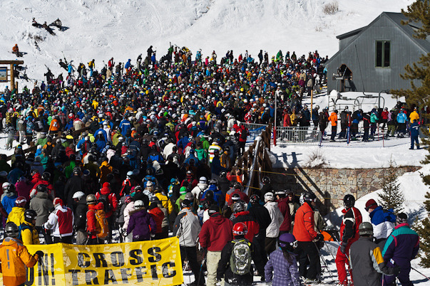 You're all set to hit the mountain. Just one teensy weensy problem. So is everybody else. I suggest you return to the lodge and find a cozy spot near the fire pit. Try again around 2pm – next May.