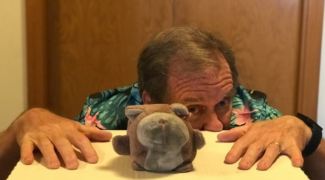 This is me, Grumpy, with my owner. I'm the one in front. We have been together for over 40 years. One of us, on a good day, still has the maturity of a nine-year-old. I'll let you guess which one.