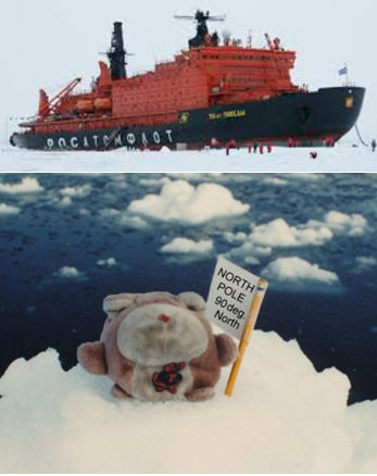 Here I am at the North Pole, thanks to a really crappy cruise ship. Not complaining, but the all-you-can-eat buffet sucked, and they wouldn't let me play shuffleboard unless I agreed to be the puck. So unfair. [This is a real photo of Grumpy at the North Pole. At top is a photo of the actual Russian ice breaker Grumpy took to reach the pole.]